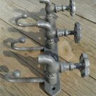 Industrial style boiler room triple tap hook distressed steel finish