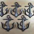 Set of 5 vintage cast iron ships anchor coathook coat hook hanger nautical AL60
