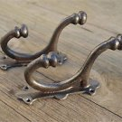 Pair large cast iron industrial factory coat hook wall hanging coathooks AL49