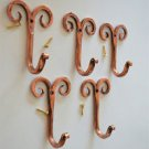 5 beautiful handmade copper curled top hooks coathook folk art hanger CCT1