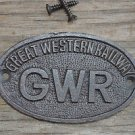 SMALL OVAL GREAT WESTERN RAILWAY CAST IRON PLAQUE GWR METAL DOOR SIGN CB1