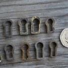 A COLLECTION OF 10 ORIGINAL ANTIQUE FURNITURE ESCUTCHEONS KEYHOLES LOCK BC6
