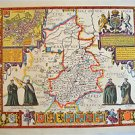 LOVELY VINTAGE REPLICA  JOHN SPEED MAP OF CAMBRIDGESHIRE CIRCA.1610 CAMBRIDGE