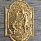 Superb small Victorian gilt brass lady cartouche mount furniture ormalu RZ1