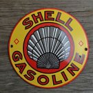 Superb heavy quality enamel advertising sign Shell gasoline round wall plaque