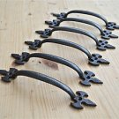 SET OF 6 GOTHIC FLEUR DE LYS END CAST IRON DOOR HANDLE DRAWER PULL WH35