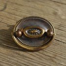 Vintage brass cabinet furniture plate handle Regency style pull W100