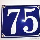 EDWARDIAN STYLE ENAMEL DOOR NUMBER 75 SIGN PLAQUE