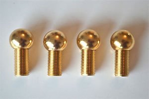 Set of 4 brass antique style ball lamp finial box clock tea caddy foot 16mm RR2