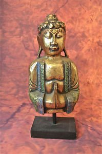 BEAUTIFUL ANTIQUE STYLE CARVED WOODEN GILDED BUDDHA FIGURE ON STAND BB6