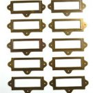 SET  OF 10 ANTIQUED BRASS FILE CABINET LABEL HOLDER NAME PLAN CHEST DRAWER LH2