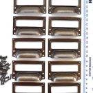 set of 10 vintage aged brass filing cabinet label holder drawer pull handle FD2