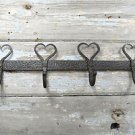 BEAUTIFUL HANDWROUGHT IRON SHAKER HEART HOOK RACK BAR HANGING HOOKS COATRACK