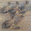 Set of 5 superb large cast iron serpent coat hook wall hanging coathooks AL68