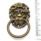 Vintage brass lions head furniture handle drawer ring pull P6