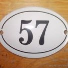 SMALL ANTIQUE STYLE ENAMEL DOOR NUMBER 57 SIGN PLAQUE HOUSE NUMBER FURNITURESIGN