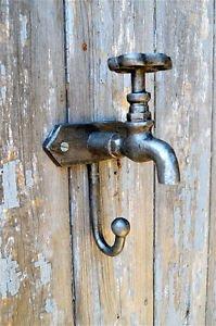 Retro style industrial boiler room galvanised tap coat hook hanger aged relic 1