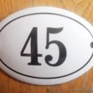SMALL ANTIQUE STYLE ENAMEL DOOR NUMBER 45 SIGN PLAQUE HOUSE NUMBER FURNITURESIGN