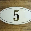 ANTIQUE STYLE ENAMEL DOOR NUMBER 5 HOUSE NUMBER DOOR SIGN PLAQUE