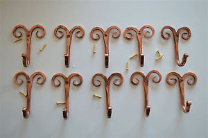 10 beautiful handmade copper curled top hooks coathook folk art hanger CCT1