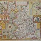 OLD COPY OF JOHN SPEED MAP OF LANCASHIRE LANCASTER TOWN PLAN  1610