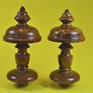 Pair superb 6 1/2 inch antique hardwood turned finial furniture clock mirror F7