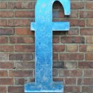 LARGE VINTAGE STYLE 3D BLUE F f SHOP SIGN LETTER TIN WALL ART LETTER FONT