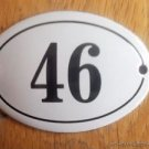 SMALL ANTIQUE STYLE ENAMEL DOOR NUMBER 46 SIGN PLAQUE HOUSE NUMBER FURNITURESIGN