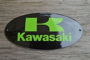 Superb heavy quality porcelain advertising sign Kawasaki wall plaque