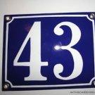 EDWARDIAN STYLE BLUE ENAMEL METAL DOOR NUMBER 43 SIGN PLAQUE