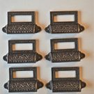 SET OF 6 EDWARDIAN PATTERNED CAST IRON LABEL FRAME HANDLE FILING DRAWER PULL CB9
