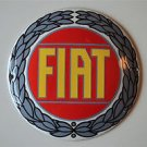 Superb heavy quality porcelain advertising sign Fiat garage plaque round F1