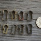 A COLLECTION OF 10 ORIGINAL ANTIQUE FURNITURE ESCUTCHEONS KEYHOLES LOCK BC3