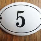 SMALL ANTIQUE STYLE ENAMEL DOOR NUMBER 5 SIGN PLAQUE HOUSE NUMBER FURNITURESIGN
