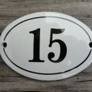 SMALL ANTIQUE STYLE ENAMEL DOOR NUMBER 15 SIGN PLAQUE HOUSE NUMBER FURNITURESIGN