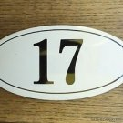ANTIQUE STYLE ENAMEL DOOR NUMBER 17 HOUSE NUMBER DOOR SIGN PLAQUE