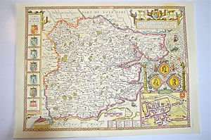 LOVELY VINTAGE REPLICA  JOHN SPEED MAP OF ESSEX CIRCA.1610 COLCHESTER TOWN PLAN