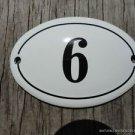 SMALL ANTIQUE STYLE ENAMEL DOOR NUMBER 6 SIGN PLAQUE HOUSE NUMBER FURNITURESIGN