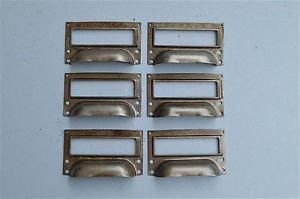 SET OF 6 STEEL FILING CABINET LABEL HANDLES FILE DRAWER HANDLE FURNITURE FD1