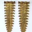 Pair original antique brass furniture mount mirror cartouche emblem ormalu RM17
