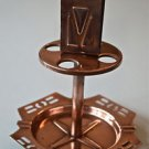 STYLISH COPPER ARTS AND CRAFTS SMOKERS STAND PIPE MATCH STAND ASHTRAY