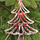 BEAUTIFUL METALIC RED DISTRESSED SHABBY CHIC CHRISTMAS TREE HANGING ORNAMENT LR
