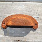 OLD RUSTY CAST IRON FURNITURE CUP HANDLE PINE DRESSER HANDLE PULL