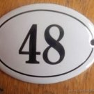 SMALL ANTIQUE STYLE ENAMEL DOOR NUMBER 48 SIGN PLAQUE HOUSE NUMBER FURNITURESIGN