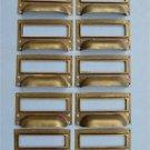 SET OF 10 BRASS FILING CABINET LABEL HANDLES FILE DRAWER HANDLE FURNITURE FD2