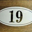ANTIQUE STYLE ENAMEL DOOR NUMBER 19 HOUSE NUMBER DOOR SIGN PLAQUE