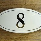 ANTIQUE STYLE ENAMEL DOOR NUMBER 8 HOUSE NUMBER DOOR SIGN PLAQUE