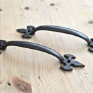 PAIR OF GOTHIC FLEUR DE LYS END CAST IRON DOOR HANDLE DRAWER PULL WH35