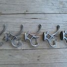 Set of 5 antique style cast iron Addison coat hook double coathooks c/w screws