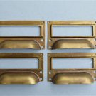 SET OF 4 BRASS FILING CABINET LABEL HANDLES FILE DRAWER HANDLE FURNITURE FD2